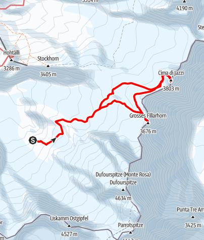 Map / Großes Fillarhorn 3676m und Cima di Jazzi 3803m von der Monterosahütte