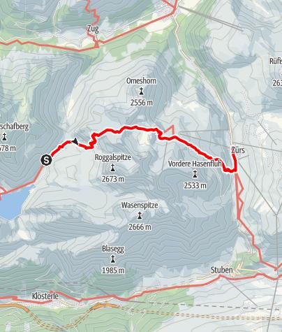 Karte / Lechquellenrunde - Etappe 5: Ravensburger Hütte - Zürs