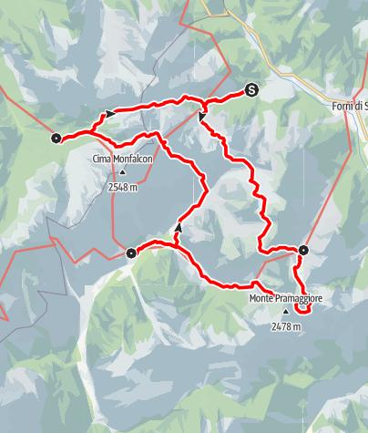 Karte / Wanderrunde Friulanische Dolomiten