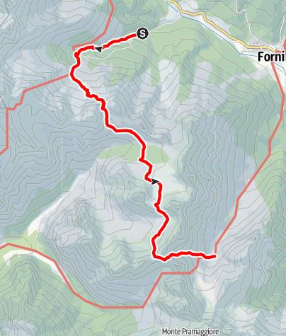 Map / Wanderrunde Friulanische Dolomiten - Etappe 1: Rifugio Giaf - Rifugio Flaiban-Pacherini