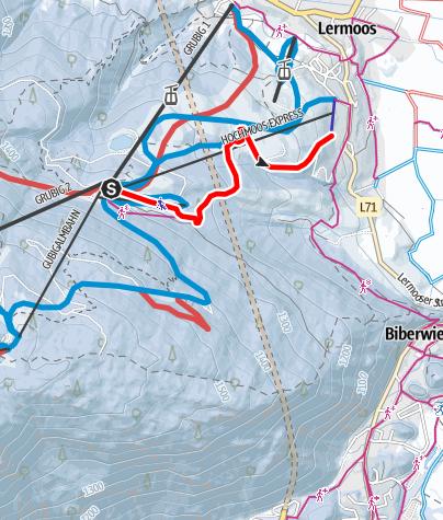 Karte / Rodeln von der Brettlalm nach Lermoos