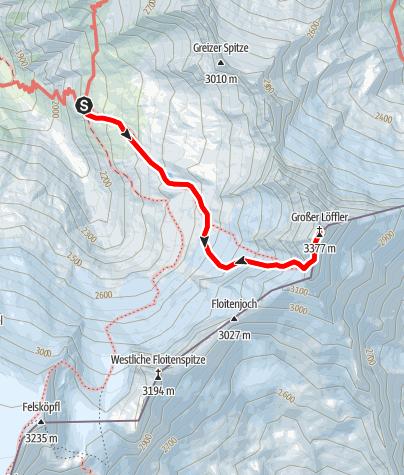 Karte / Großer Löffler: Anspruchsvolle Hochtour von der Greizer Hütte
