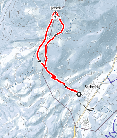 Karte / Skitour: Spitzstein von Sachrang im Chiemgau