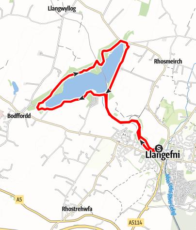 Karte / Nant Y Pandy & Llyn Cefni Walk