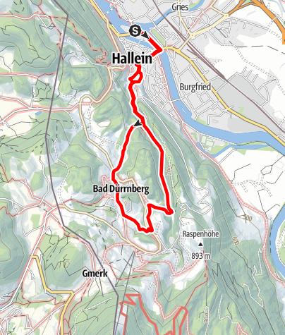 Karte / Hallein: Unterer Knappenweg Themenweg