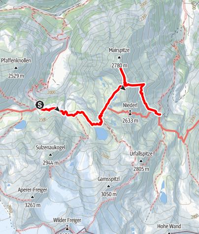 Map / Sulzenau Hütte - Nürnberger Hütte über Mairspitze