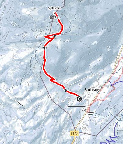 Karte / Schneeschuh: Spitzstein von Sachrang im Chiemgau