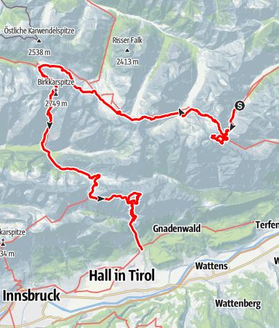 Karte / Hüttentour (5 Tage) durchs Karwendelgebirge