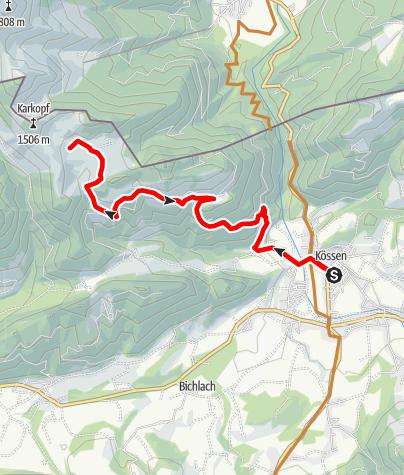 Karte / Von Kössen auf die Karalm (A)