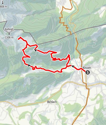 Karte / Karalm-Rundtour bei Kössen