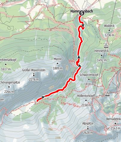 Karte / Höllentalklamm von Hammersbach bis Höllentalangerhütte
