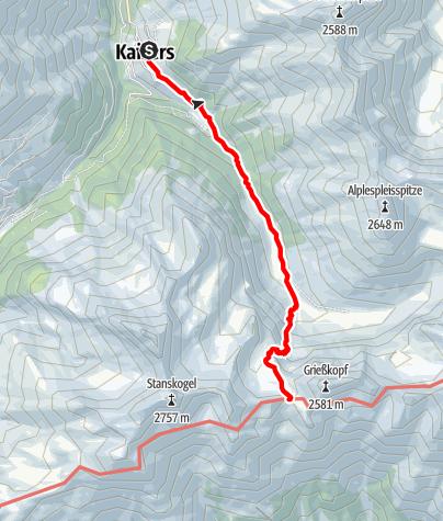Karte / Kaiserjochhaus - Zustieg von Kaisers (Edelweisshaus)