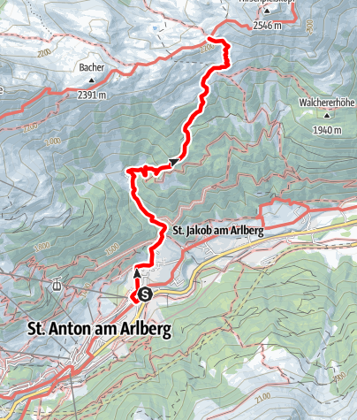 Karte / Leutkircher Hütte - Zustieg St. Anton Nasserein