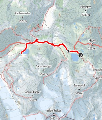 Map / Sulzenau Hütte - Blaue Lacke und Grünausee