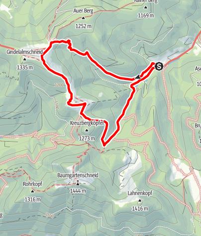 Map / Genusstraumtour Gindelalm und Kreuzbergalm