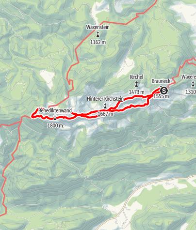 Karte / Von Lenggries über die Tutzinger Hütte auf die Benediktenwand