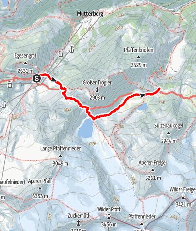 Karte / Etappe 4: Dresdner Hütte – Sulzenau Hütte