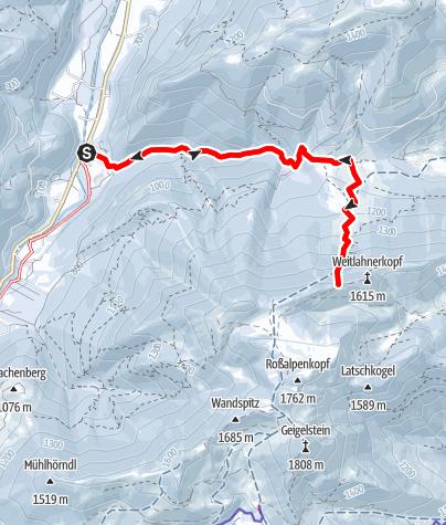 Karte / Skitour: Weitlahnerscharte in den Chiemgauer Alpen