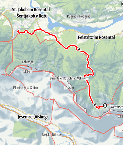 Map / 03 Südalpenweg, E14: Klagenfurter Hütte - Rosenbach