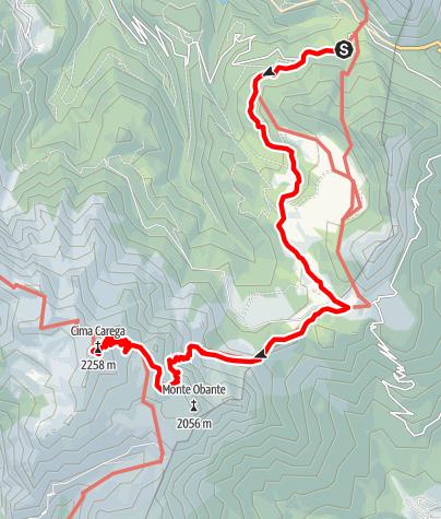 Map / Rise to Monte Carega