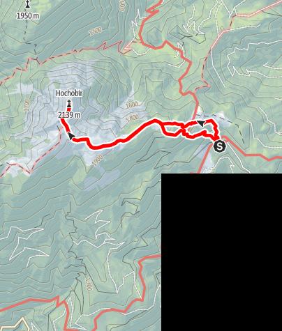 Karte / Hochobir 2139 m von der Eisenkappeler Hütte aus