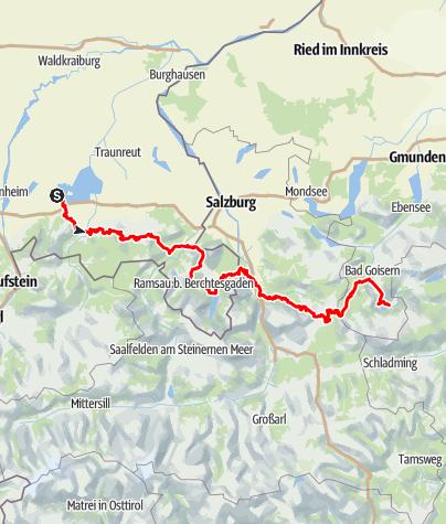Karte / Salzalpensteig I – Auf alten Salzwegen vom Chiemsee nach Hallstatt