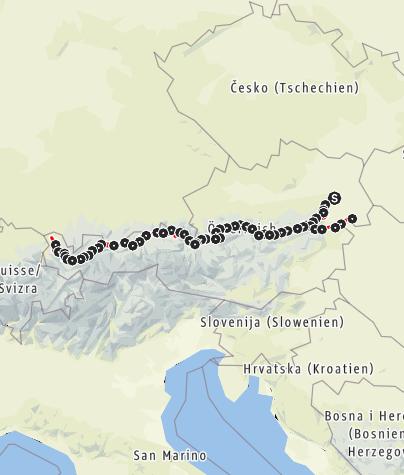 Karte / Weitwanderweg 01 - Nordalpenweg