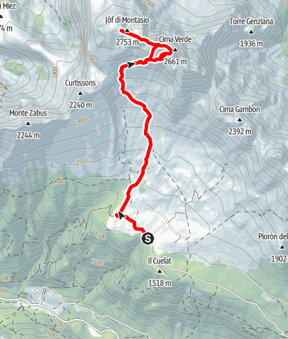 Karte / Montasch (Montasio) 2753 m über den Scala Pipan-Klettersteig