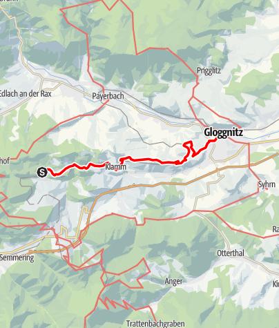 Karte / Bahnwanderweg: Breitenstein-Gloggnitz