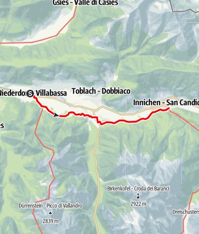 Karte / Von Niederdorf nach Innichen