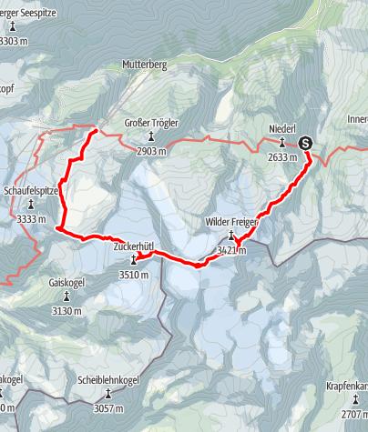 Karte / Wilder Freiger - Wilder Paff - Zuckerhütl von der Nürnberger Hütte