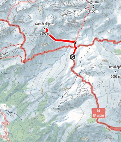 Karte / Glattjöchlspitze 2106 m von der Biberacher Hütte