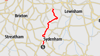 Karte / Crystal Palace Park to Nunhead Cemetery