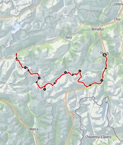 Karte / Walserweg - auf den Spuren der Walser von Thusis nach Disentis