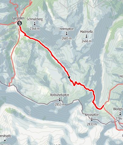 Karte / Tübinger Hütte von Gargellen über Vergaldner Joch