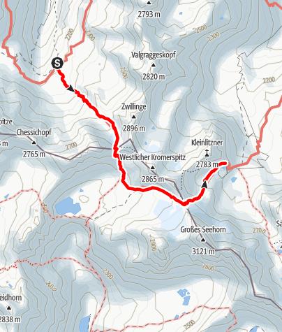 Karte / Tübinger Hütte - Neuer Weg zur Saarbrücker Hütte