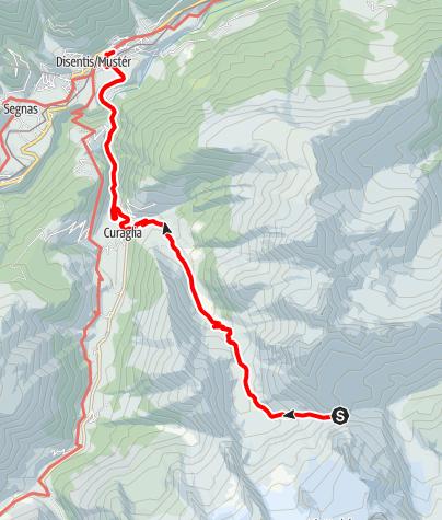 Karte / Walserweg - Etappe 7: Medelserhütte - Disentis