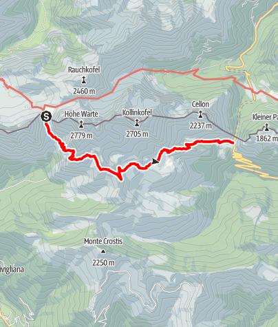 Karte / Rifugio Lambertenghi-Romanin, Rifugio Marinelli, Plöckenpass