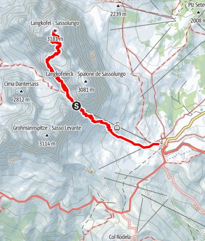 Karte / Langkofel (3.181 m) - das Wahrzeichen des Grödnertales