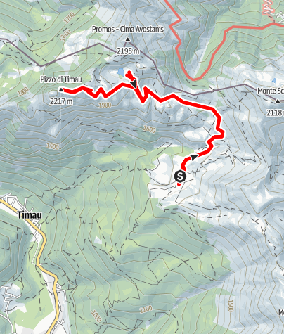 Karte / Creta di Timau e Lago Avostanis