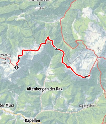 Karte / Etappe 19 Vom Gletscher zum Wein Nordroute Schneealm - Rax Karl Ludwig Haus