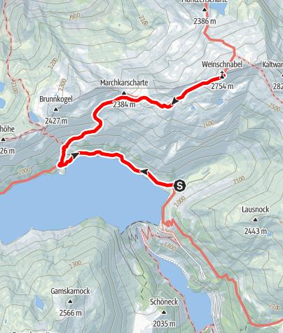 Karte / Vom Kölnbreinspeicher auf den Gipfel des Weinschnabel