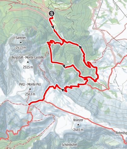 Karte / Von Bad Ratzes [1] über Schlernbödelehütte zur Schlernhäuserhütte