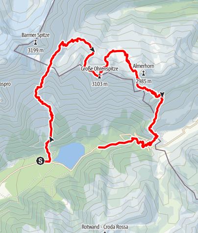 Karte / Großen Ohrenspitze (3.101 m) - Unbekannter Gipfel in der Rieserfernergruppe
