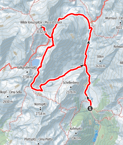 Karte / Brixner Hütte und Wilde Kreuzspitze
