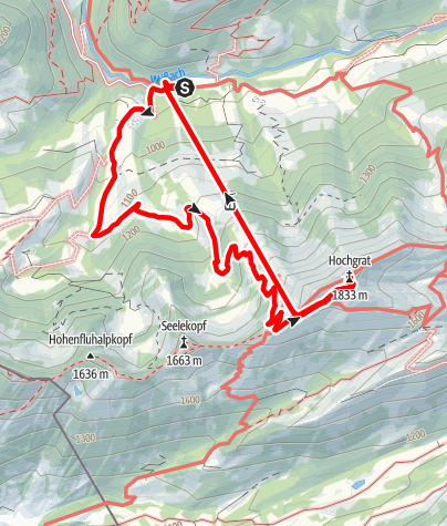 Karte / Hochgrat ♠ Talstation - Bergstation - Gipfel - Bahnabfahrt