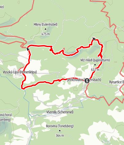 Karte / Böhmische Schweiz: Sonnenuntergang (Jetrichovice-Dolsky mlyn-Ostroh-Jetrichovice)