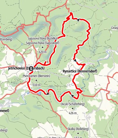 Karte / Böhmische Schweiz: Durch die Felsen zu den Zwergen (Jetrichovice-Falkenstejn-Rynartice-Pavlino udoli-Jetrichovice)