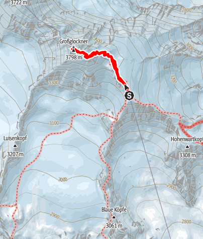 Karte / Großglockner von der Erzherzog Johann Hütte (Normalweg)