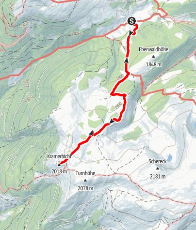 Karte / Wanderung auf den Krametbichl